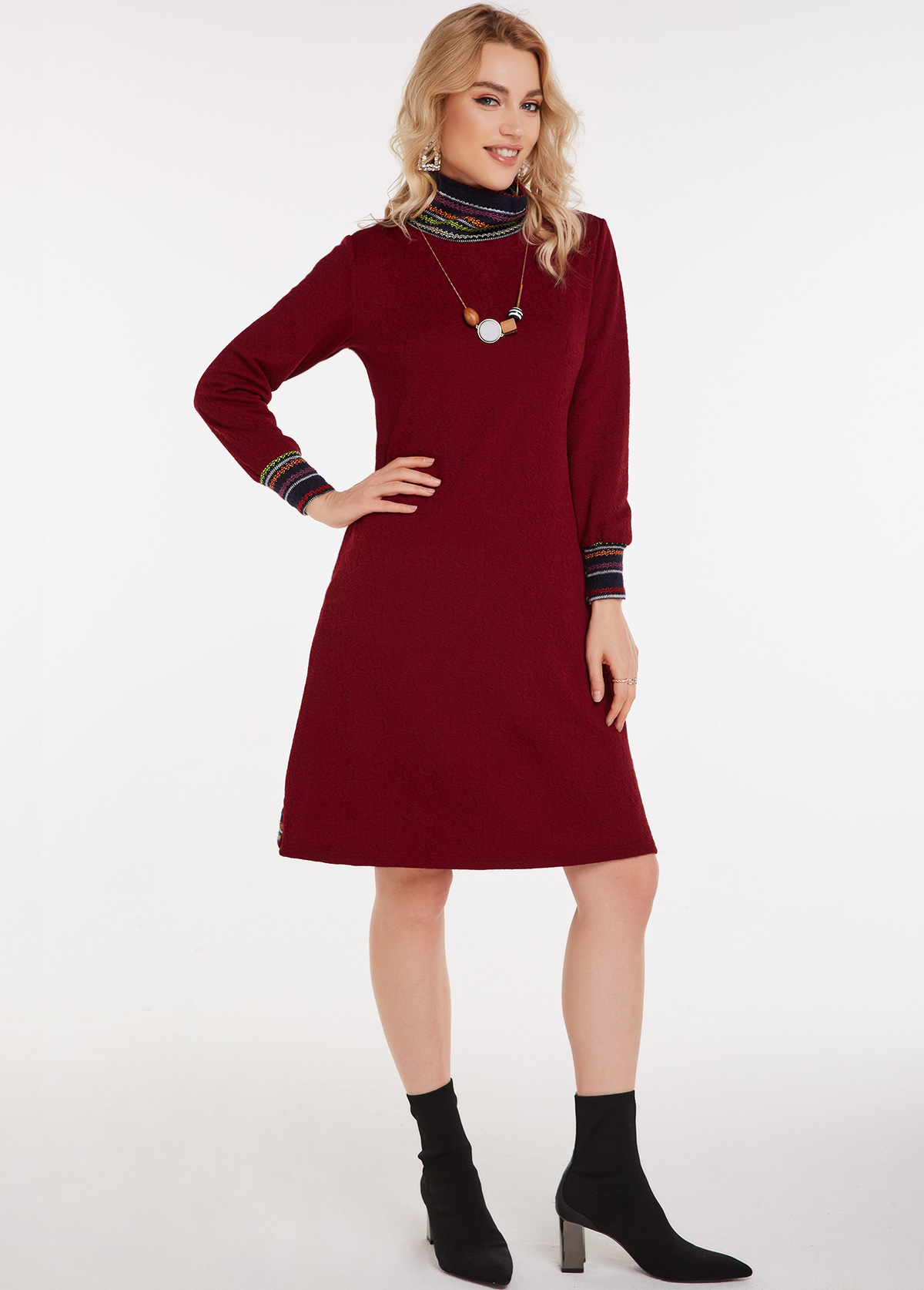 Tribal Print Turtleneck Jacquard Pocket Dress