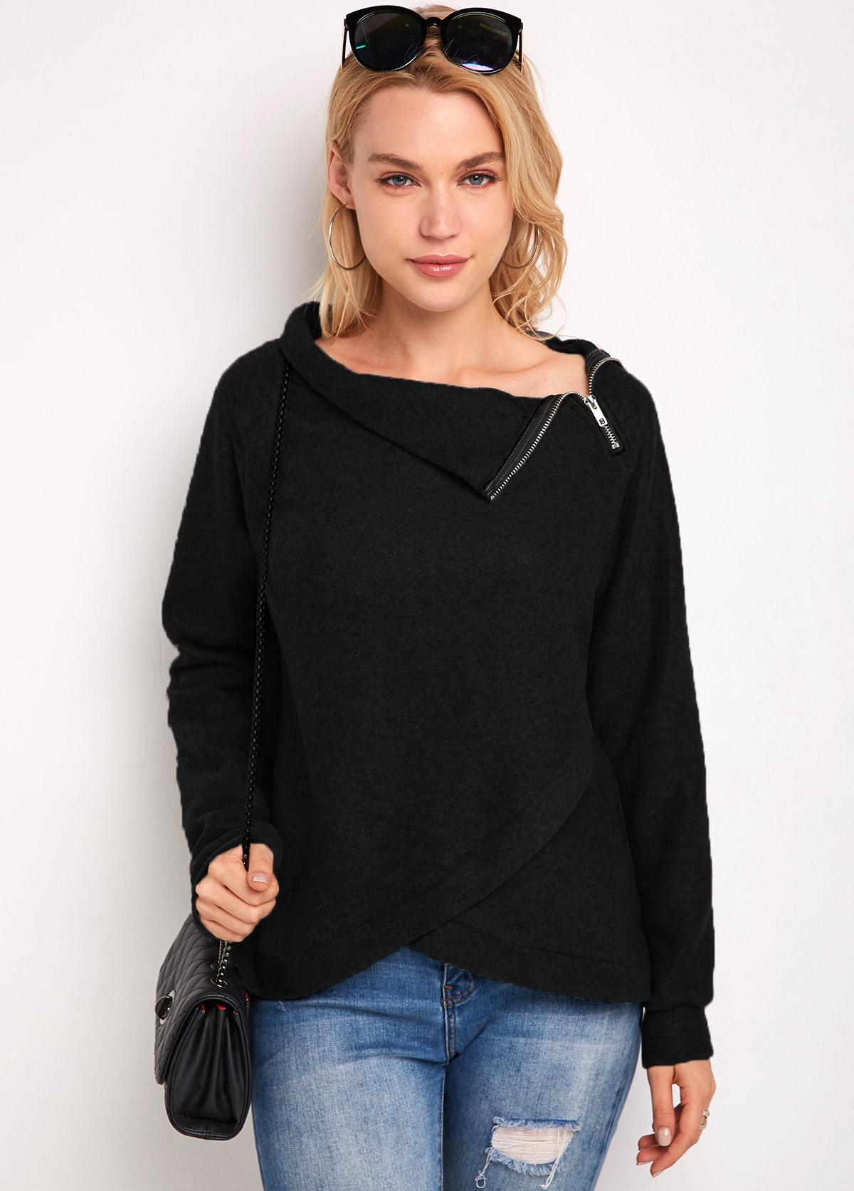 Zip Detail Long Sleeve Asymmetric Hem Sweatshirt