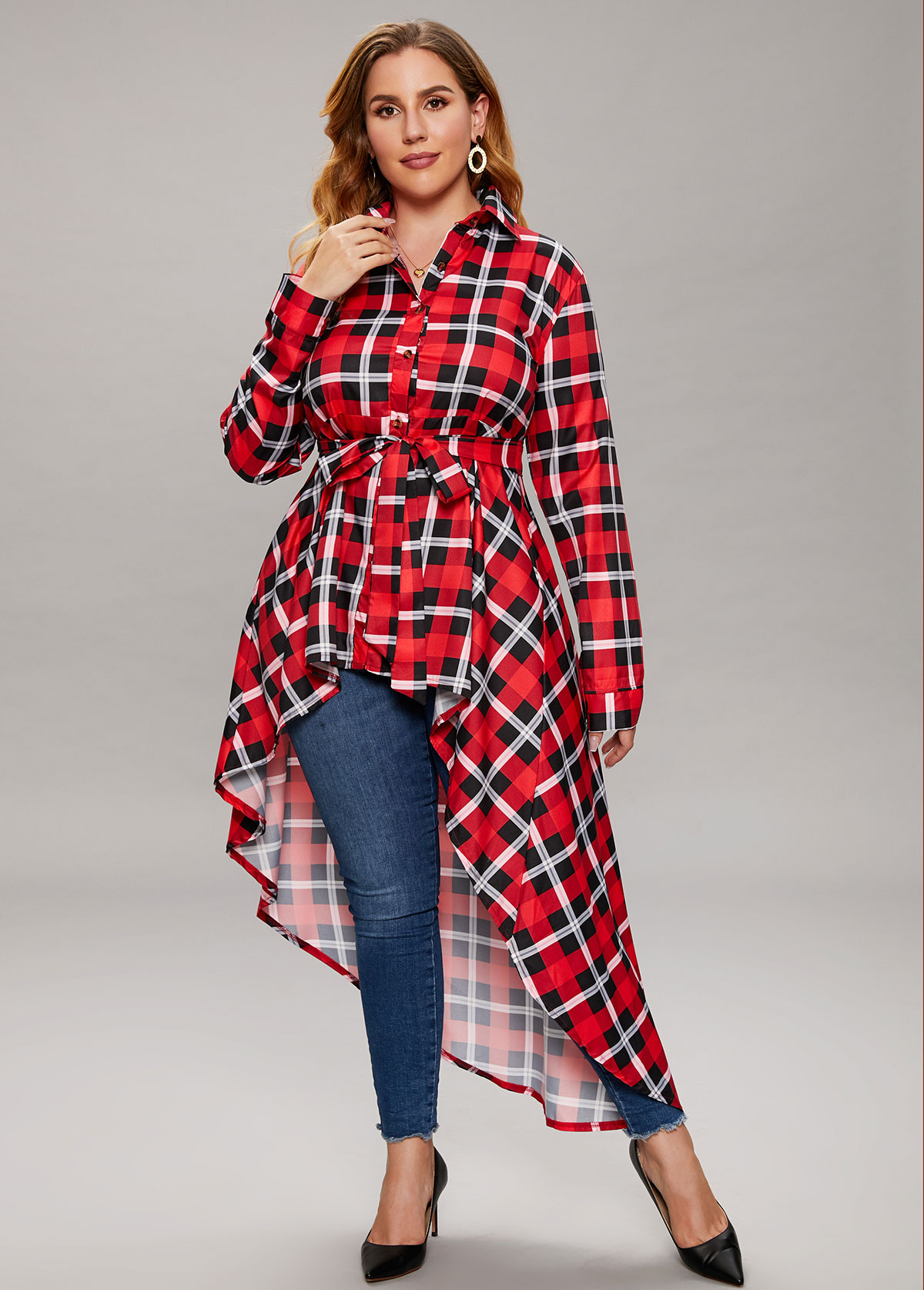 Plus Size Asymmetric Hem Plaid Belted Blouse