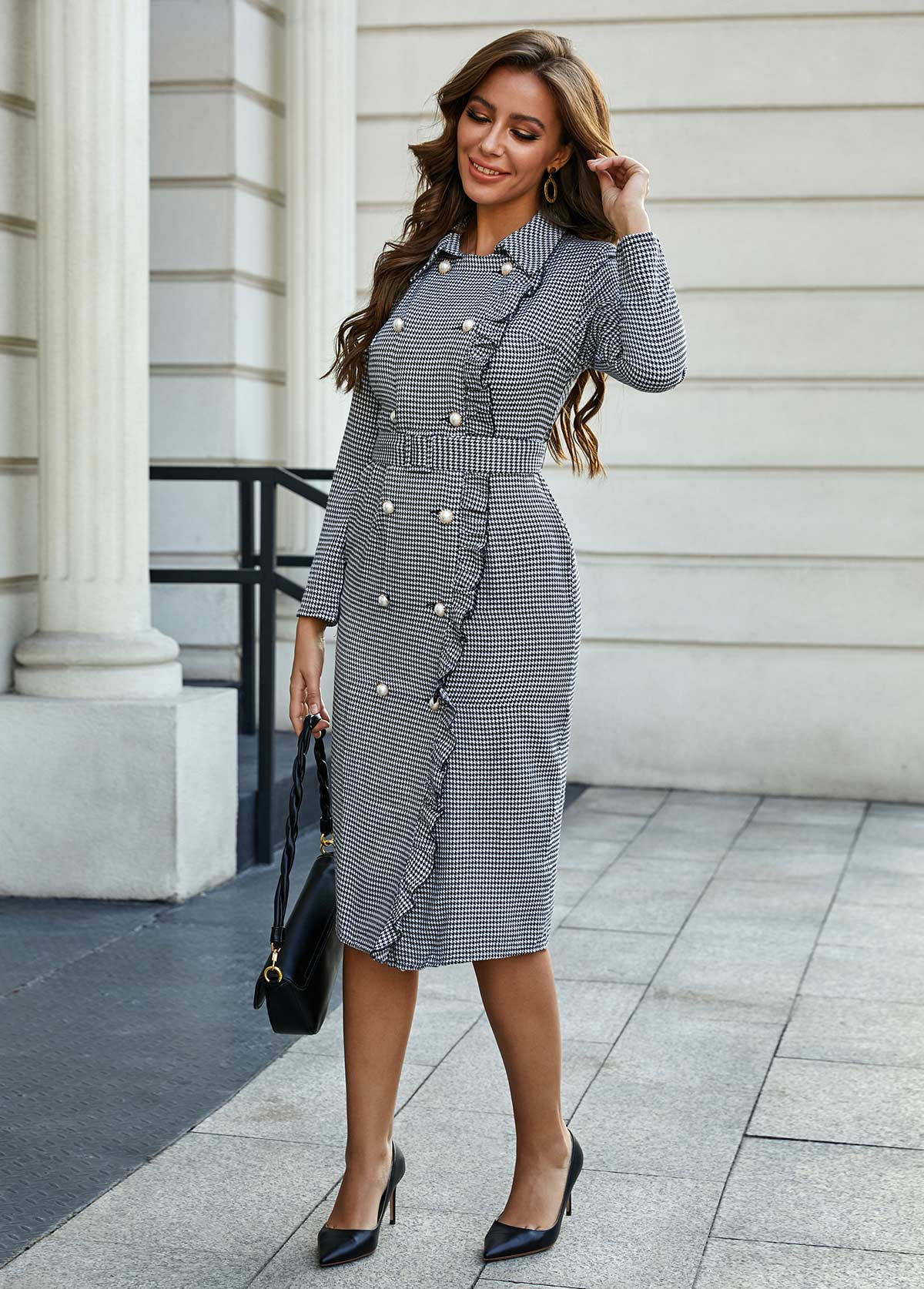Houndstooth Print Turndown Collar Button Detail Dress