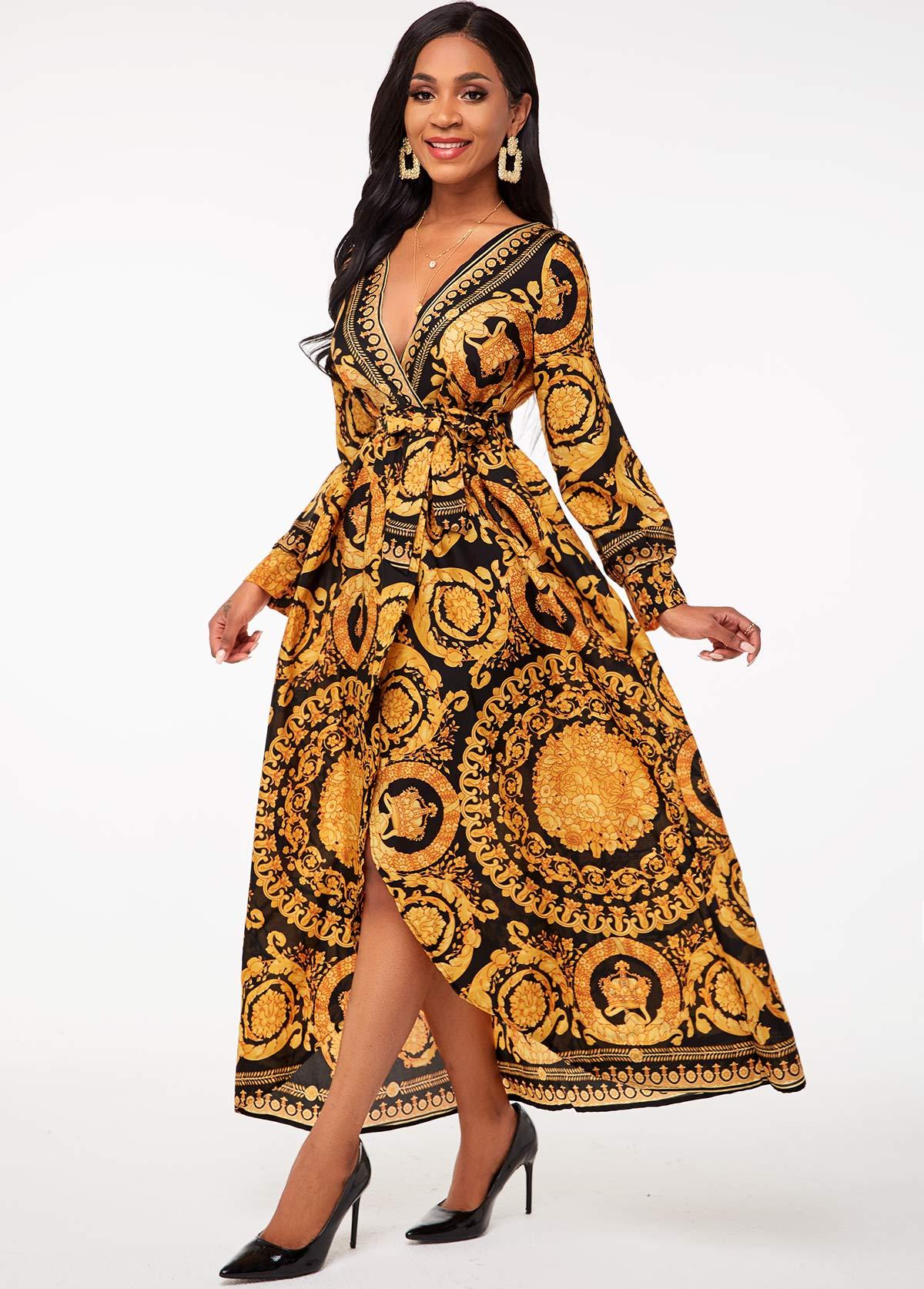 Bohemian Print Belted V Neck Dress
