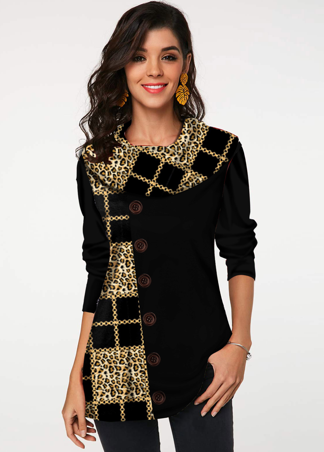 Leopard and Geometric Print Button Tunic Top