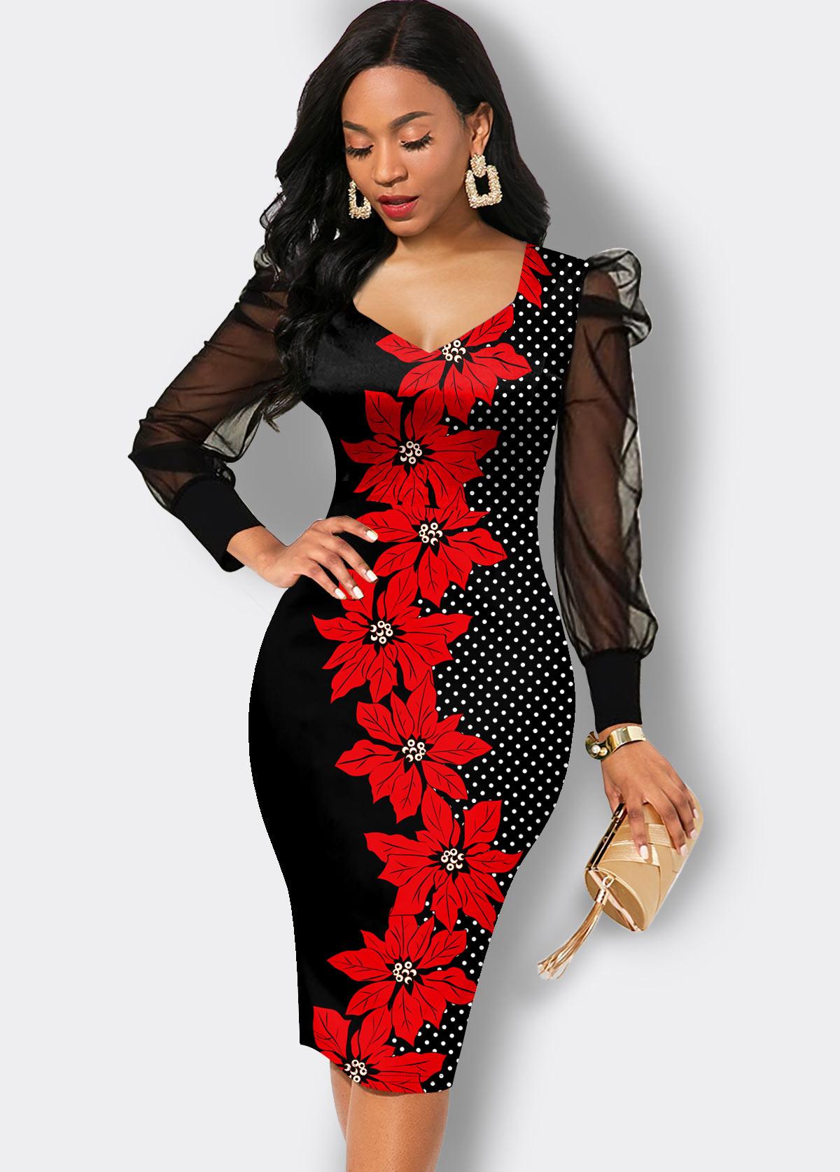 Floral Print Mesh Sleeve Sheath Dress