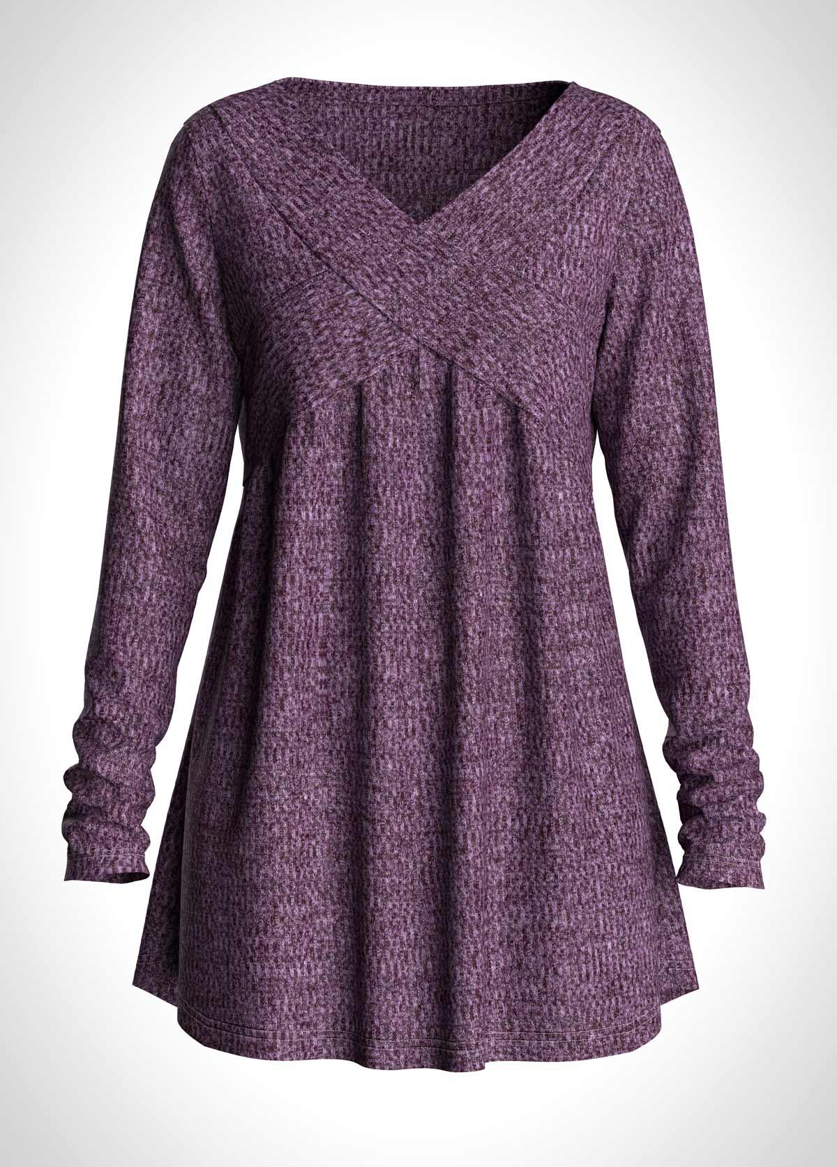 V Neck Long Sleeve Purple T Shirt