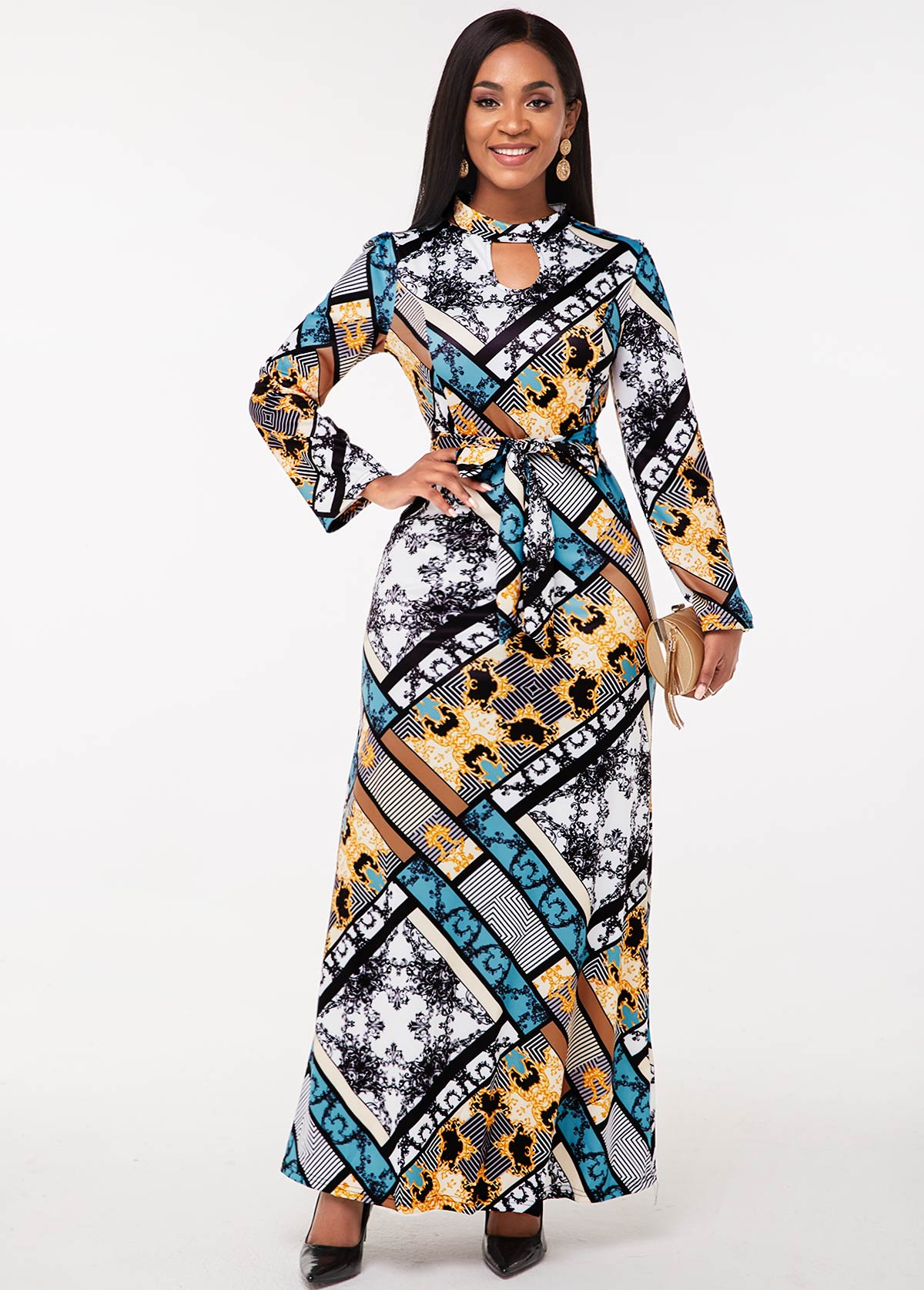 Tribal Print Keyhole Neckline Long Sleeve Dress