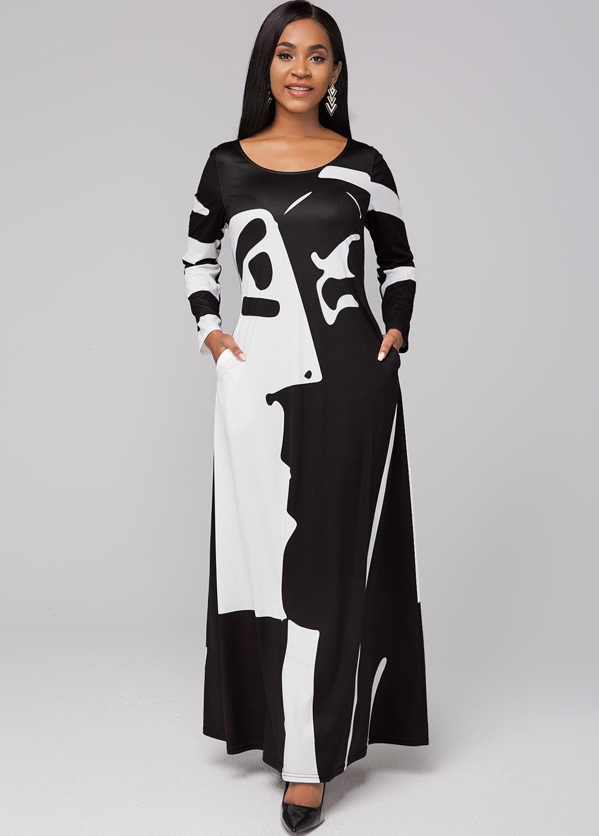 Graffiti Print Round Neck Pocket Maxi Dress