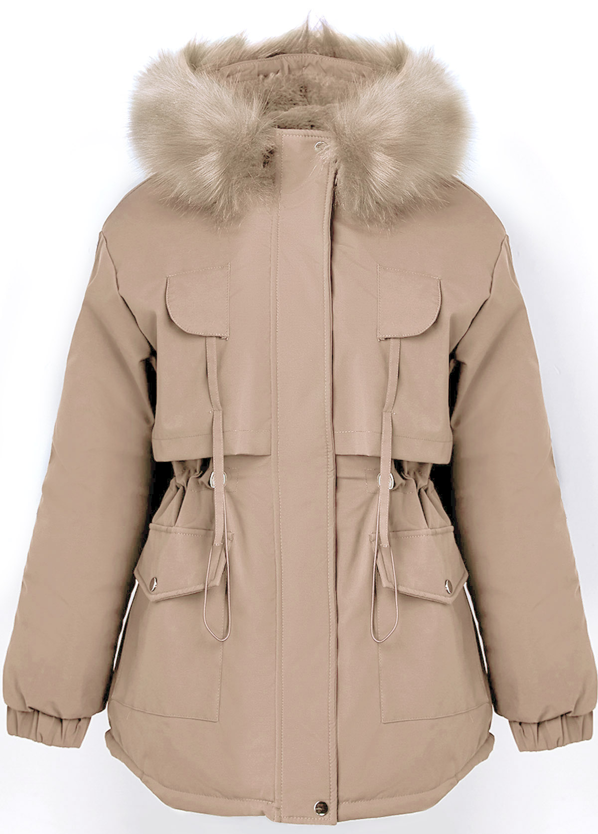 Drawstring Waist Fur Collar Pocket Coat
