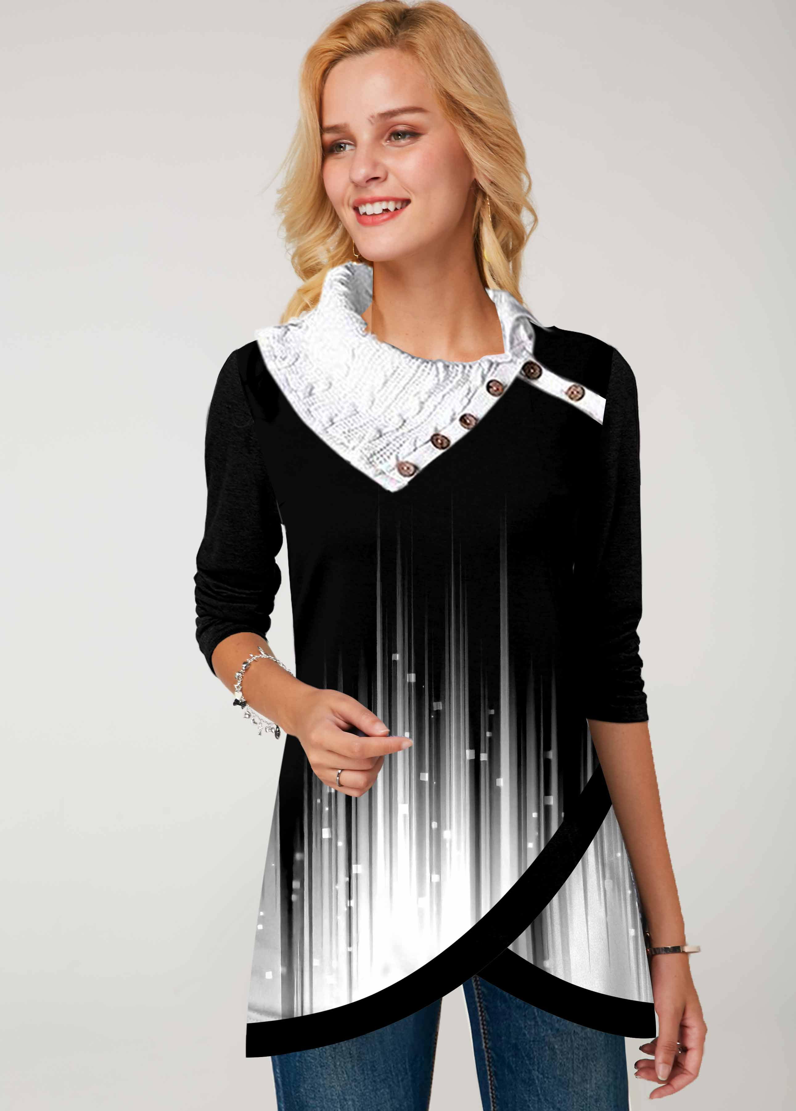 Ombre Printed Asymmetric Hem Button Tunic Top