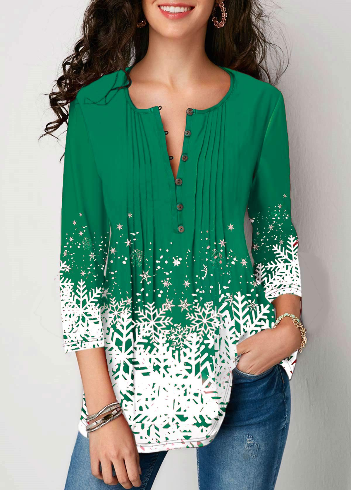 Button Detail Snowflake Print 3/4 Sleeve Blouse