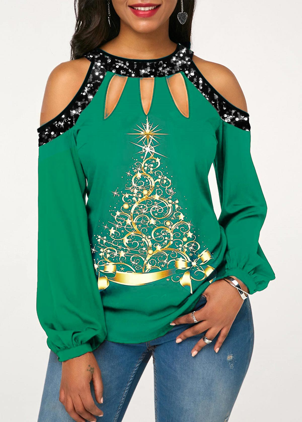 Christmas Tree Print Sequin Cold Shoulder T Shirt