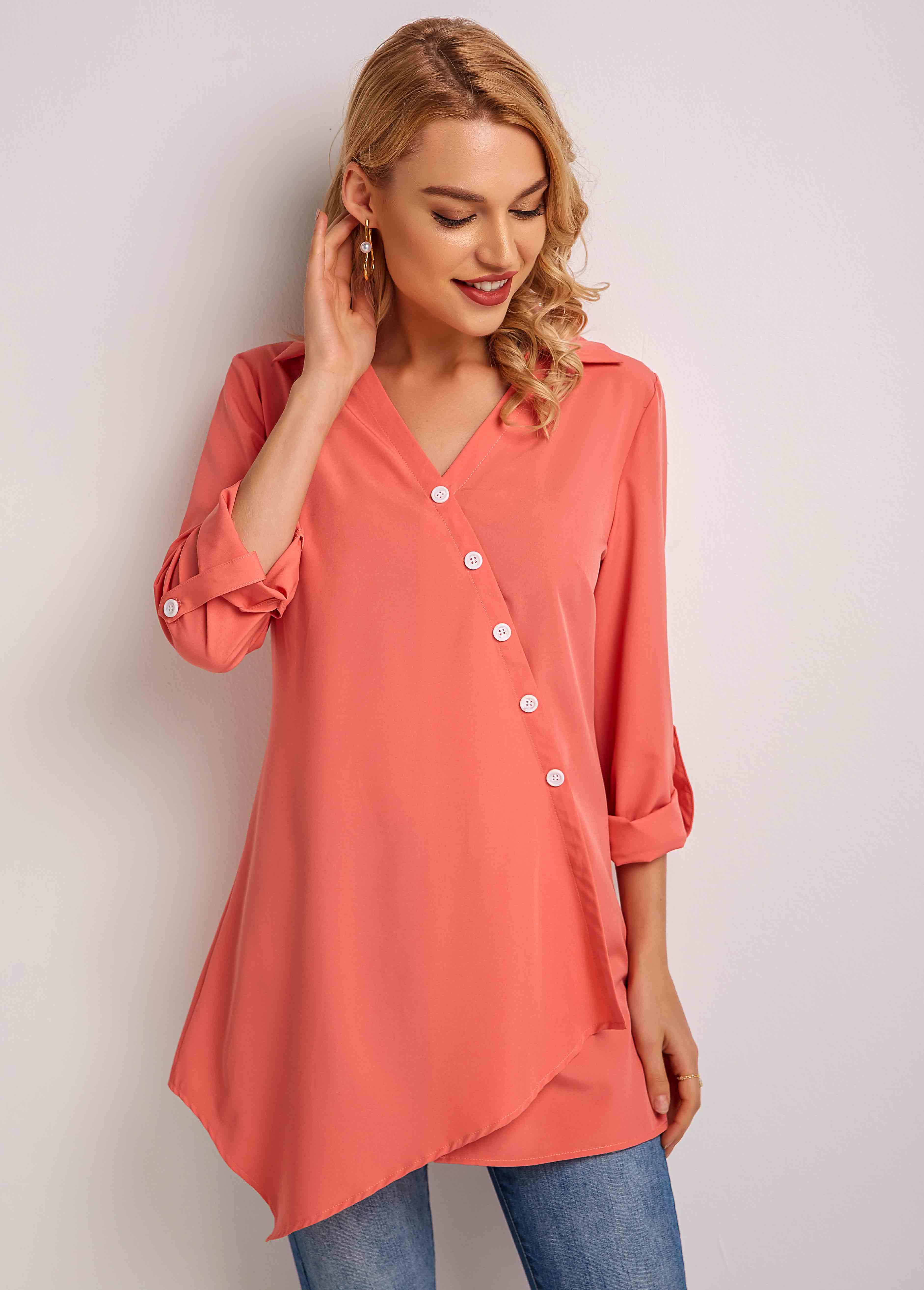 Asymmetric Hem Oblique Button Long Sleeve Blouse