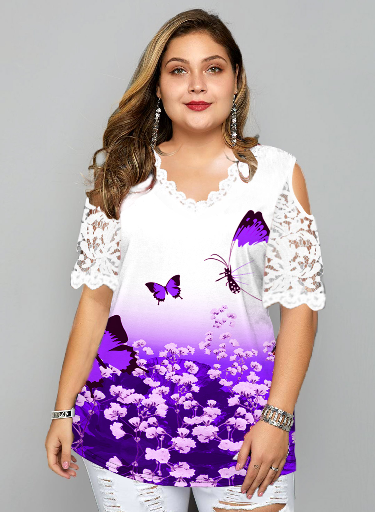 Plus Size Lace Stitching Butterfly Print T Shirt