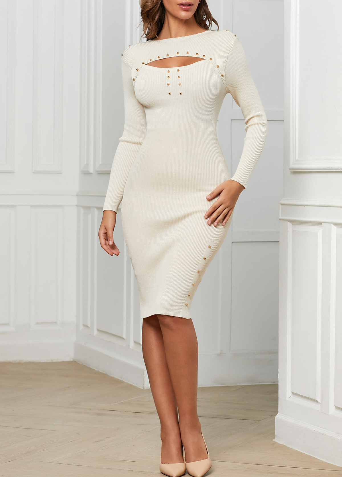 Cutout Front Long Sleeve White Bodycon Dress