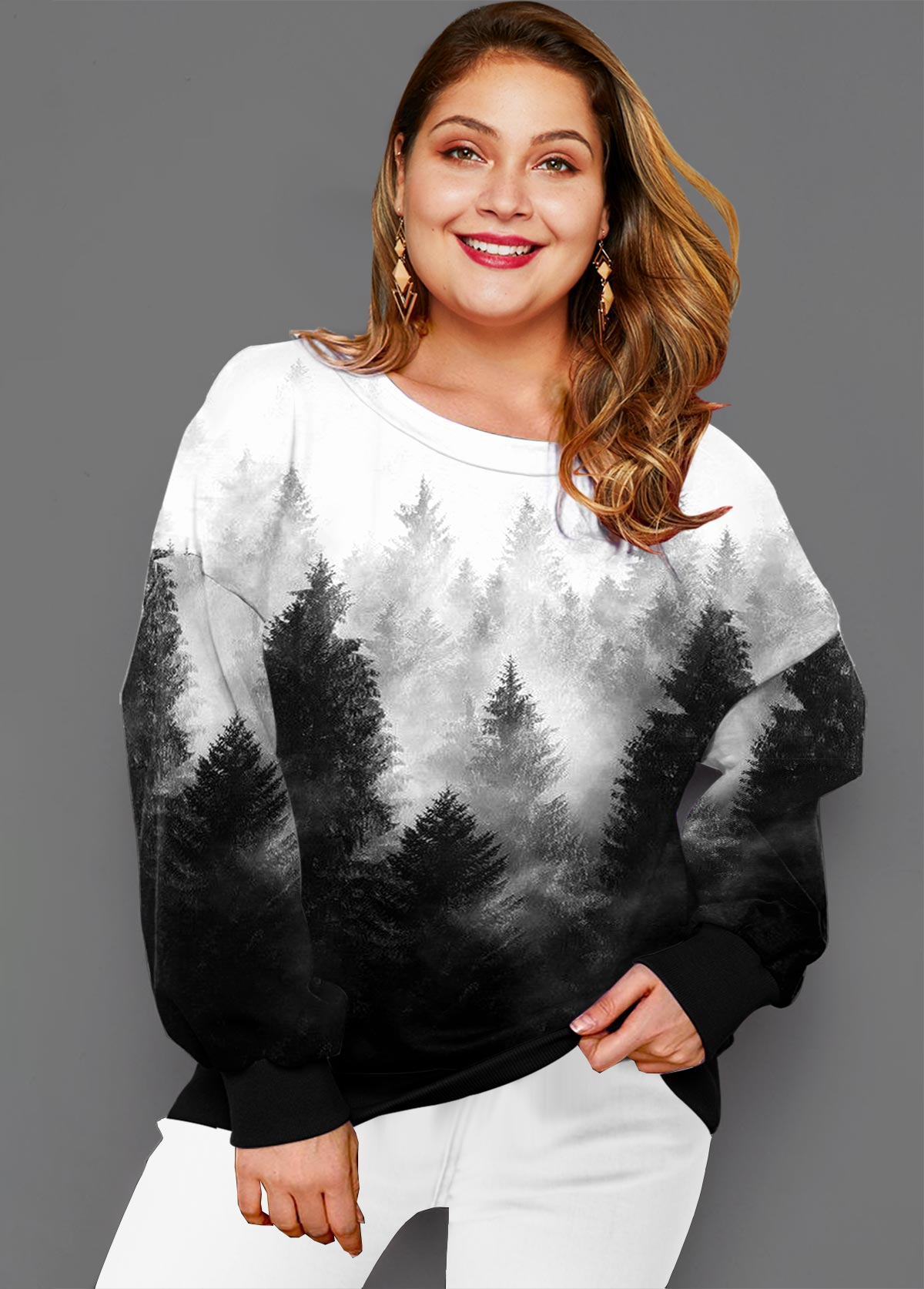 Plus Size Long Sleeve Ombre Forest Print T Shirt