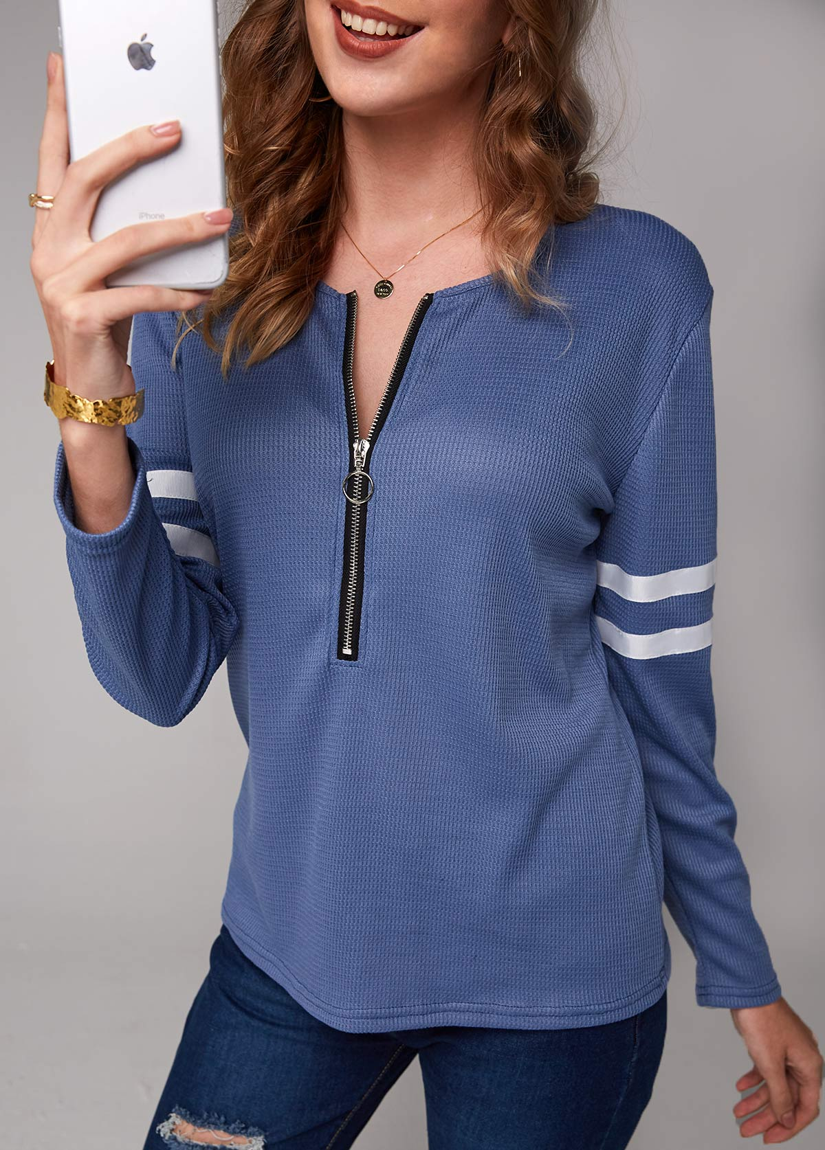 Varsity Striped Quarter Zip Long Sleeve T Shirt