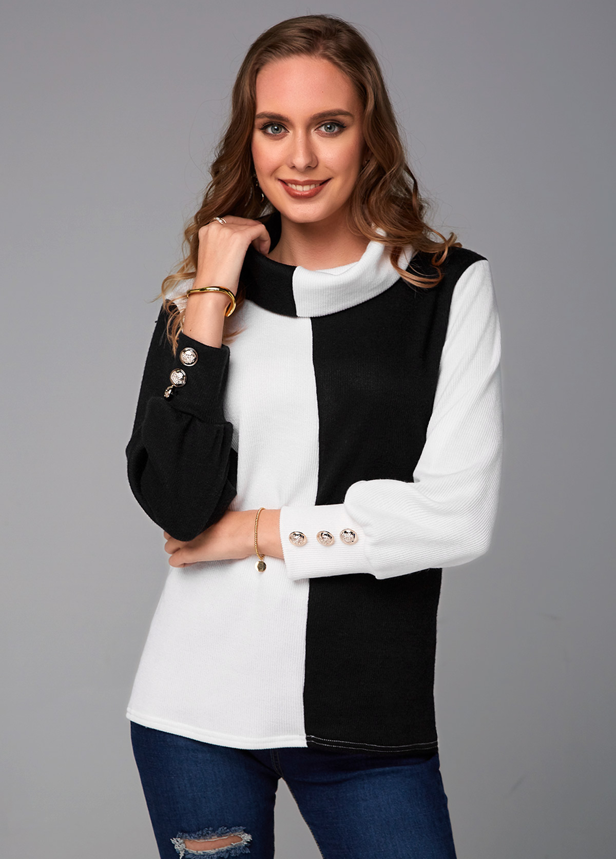 Contrast Long Sleeve Cowl Neck Sweater