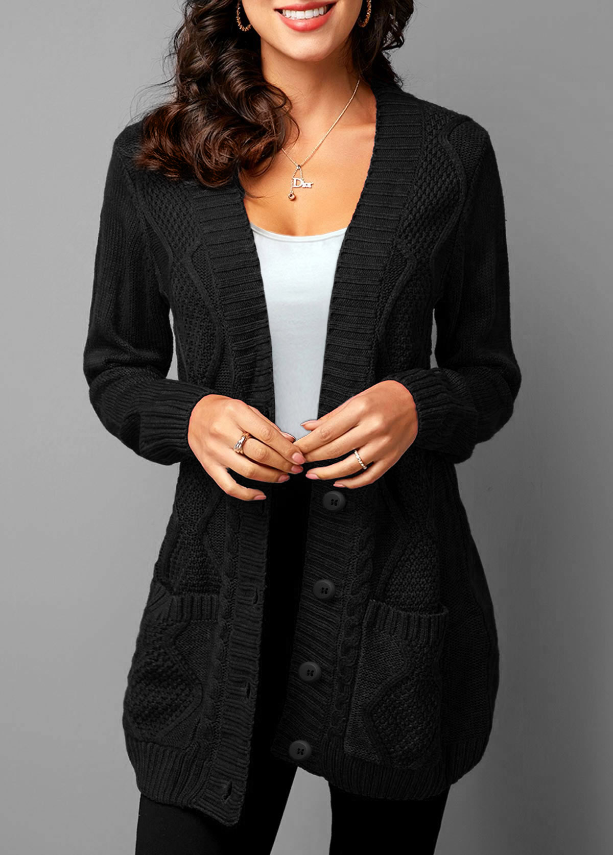 Pocket Detail Button Up Rib Knit Cardigan