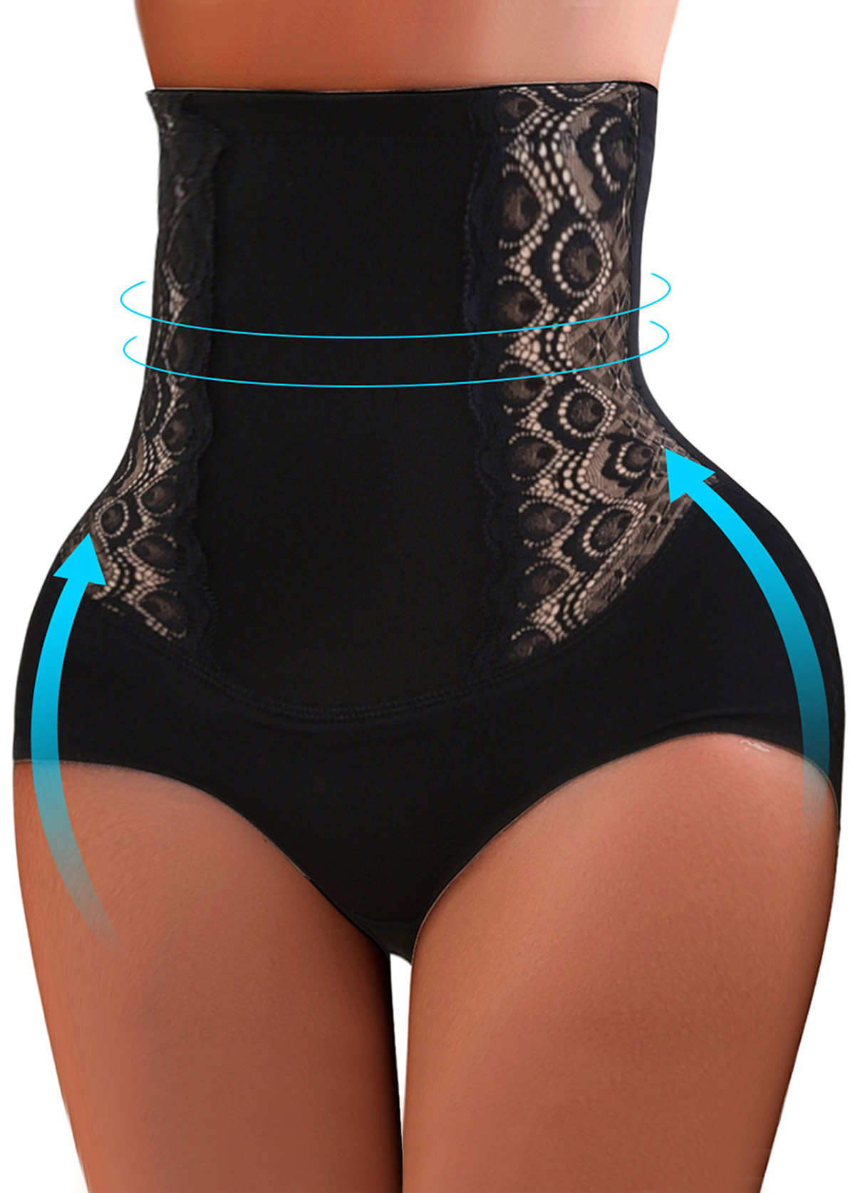 Embroidered High Waist Black Shapewear Panty