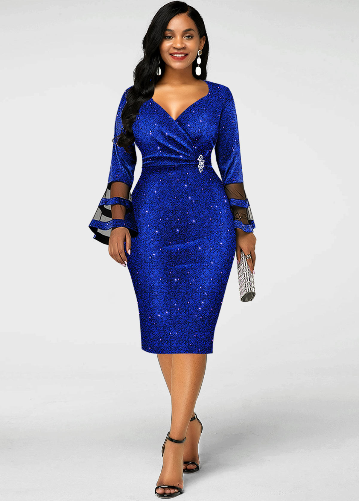 Sequin Mesh Flare Sleeve Bodycon Dress