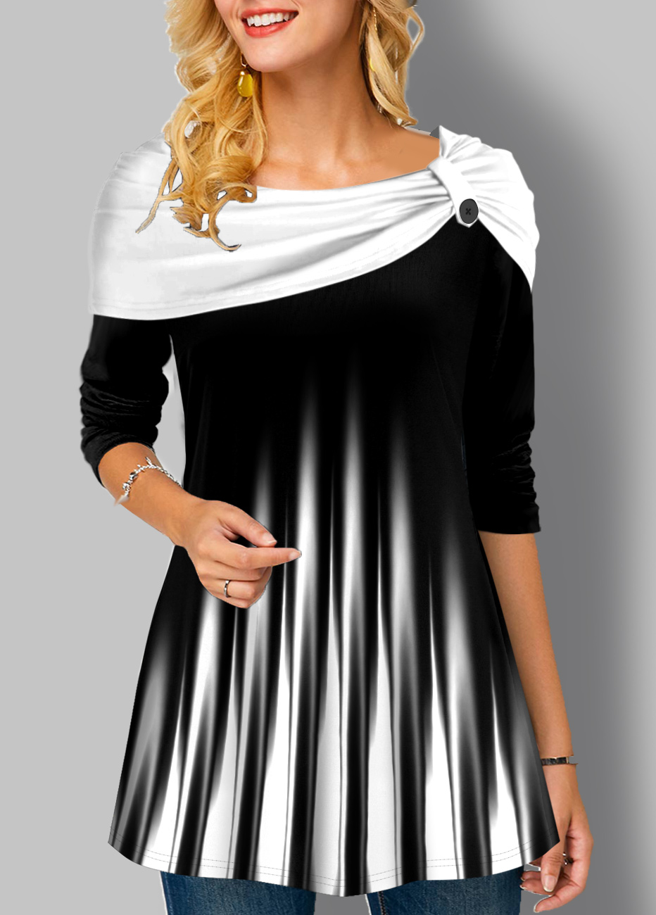 Ombre Striped Long Sleeve Tunic Top