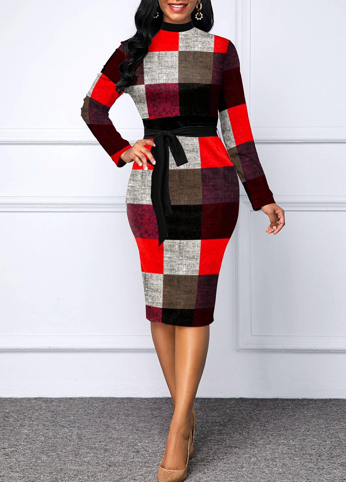 Belted Plaid Long Sleeve Sheath Dress