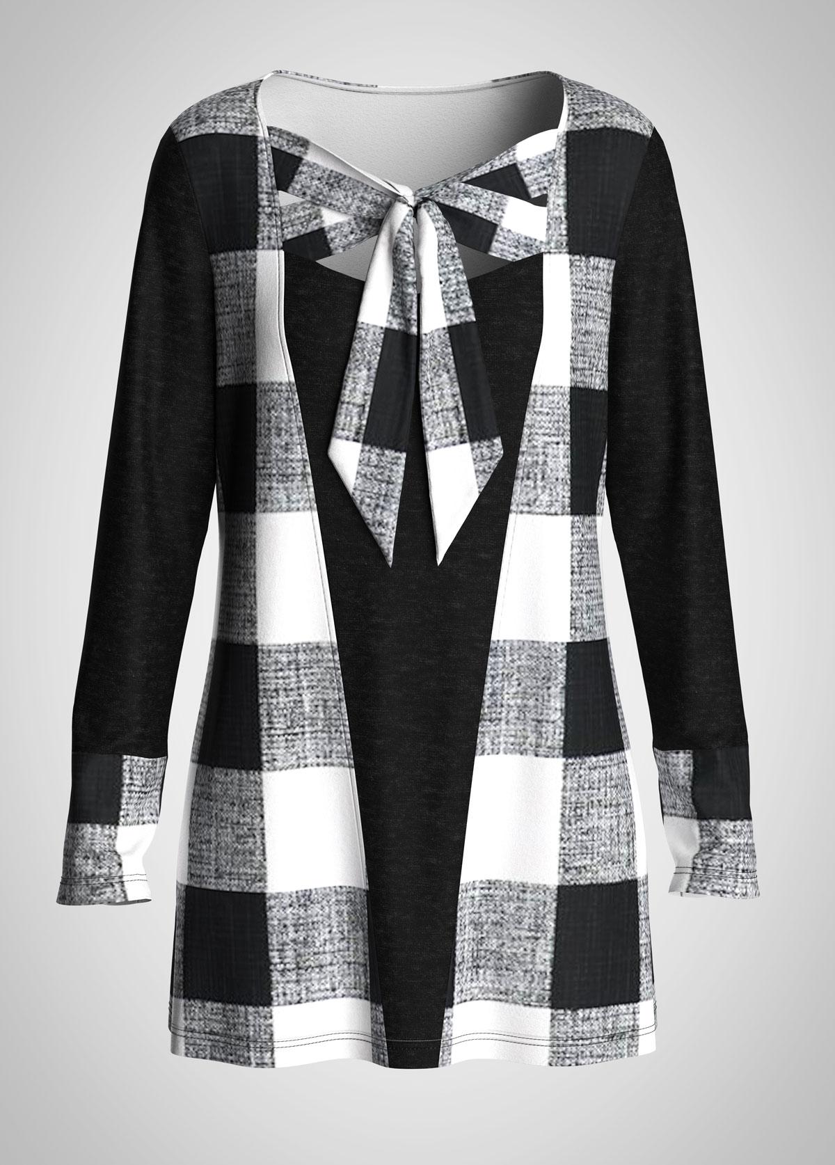 Plaid Bowknot Long Sleeve Tunic Top
