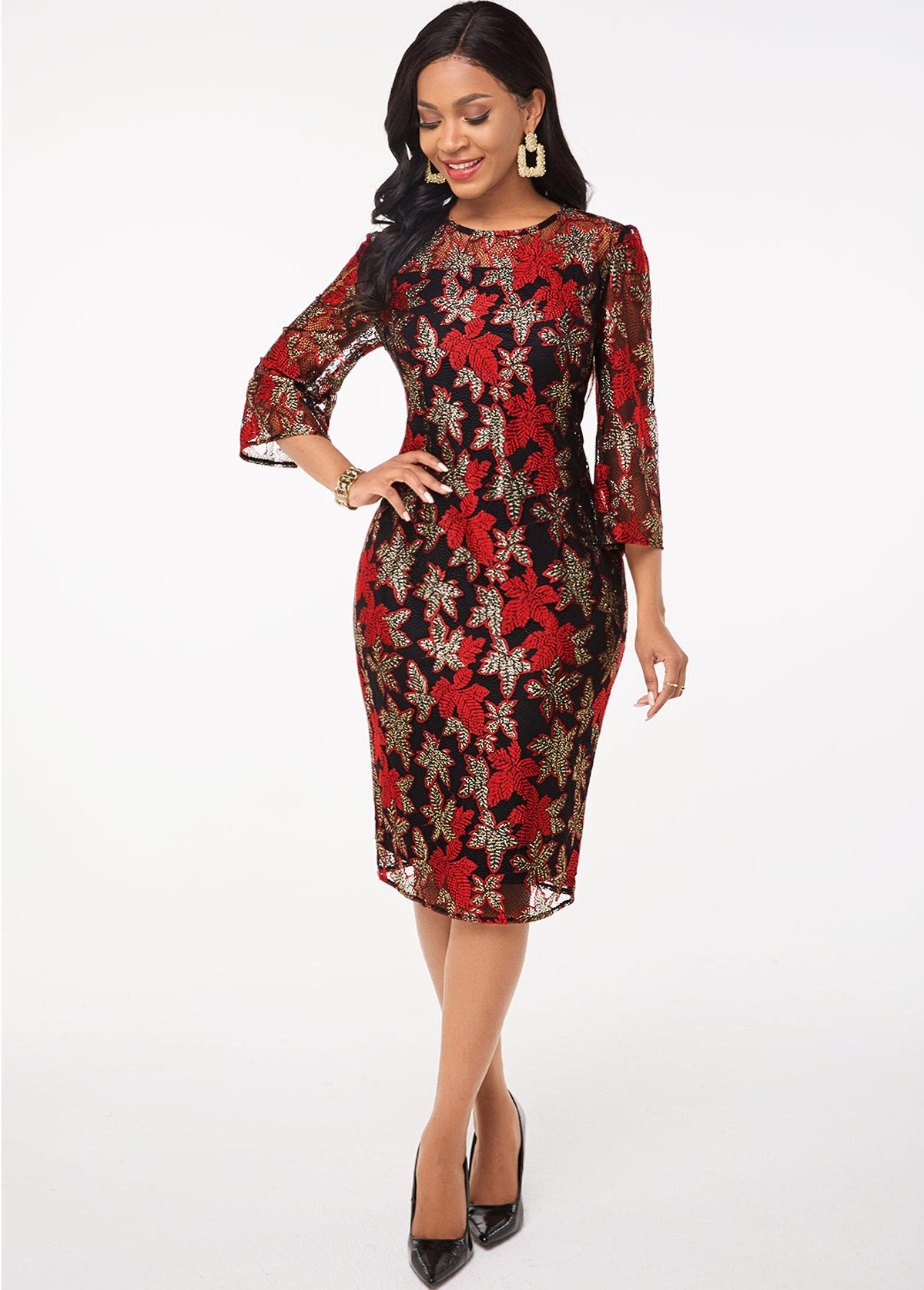 Lace Stitching Round Neck 3/4 Sleeve Dress