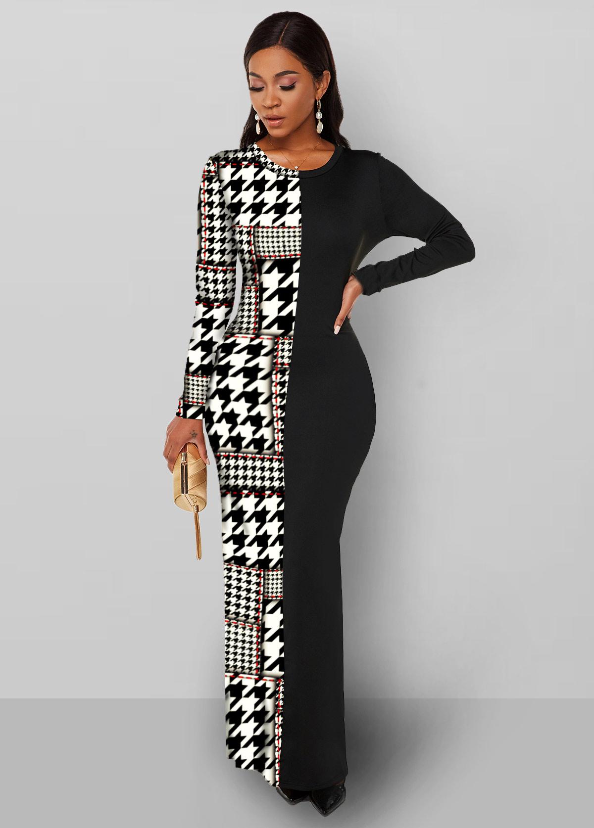 Houndstooth Print Long Sleeve Round Neck Dress