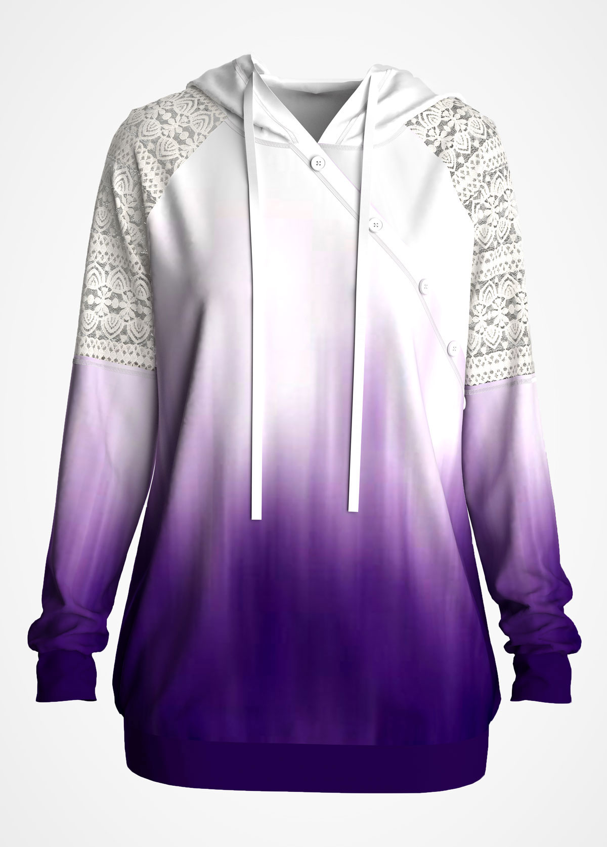Lace Stitching Ombre Long Sleeve Hoodie