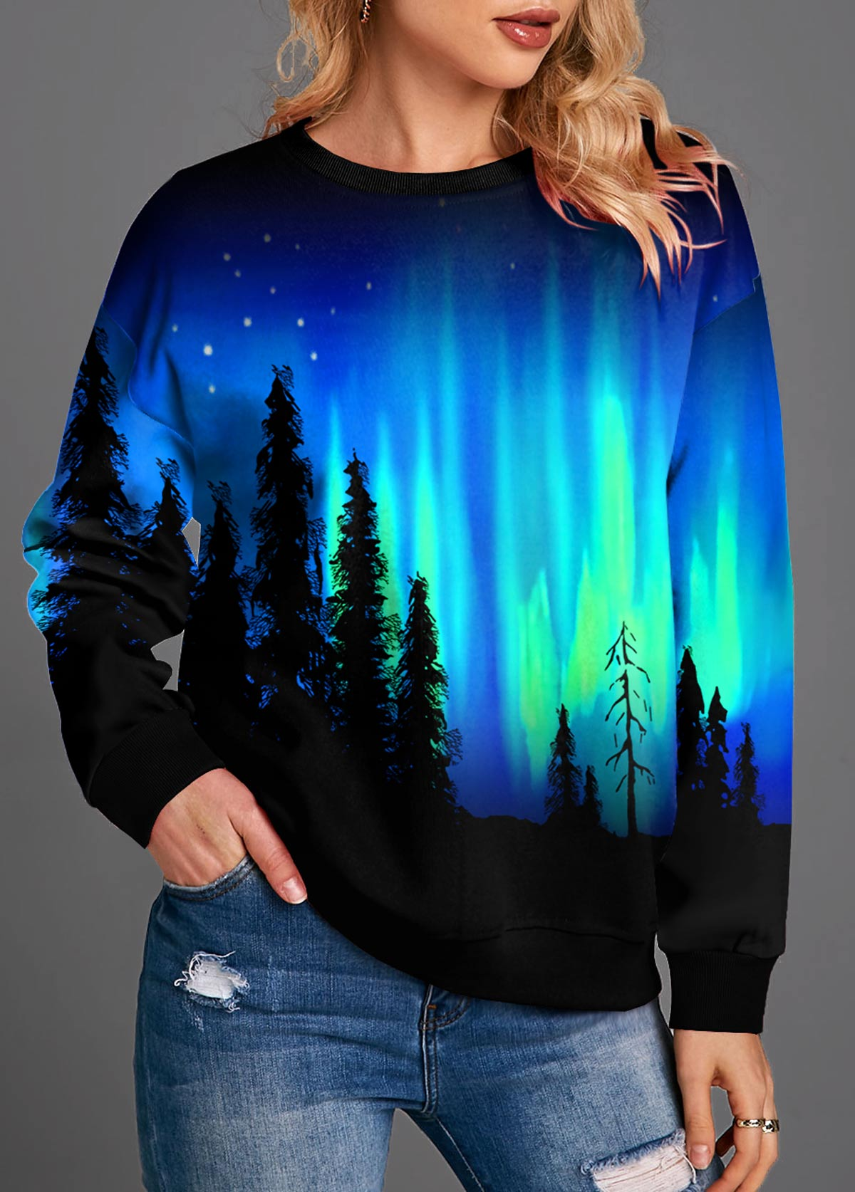 Starry Night Print Long Sleeve Round Neck T Shirt