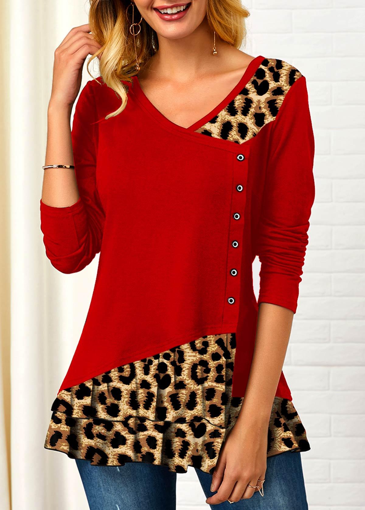 Leopard Contrast Long Sleeve V Neck T Shirt
