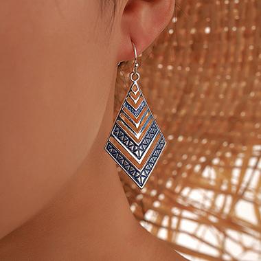 Rhombus Design Blue Metal Earring Set