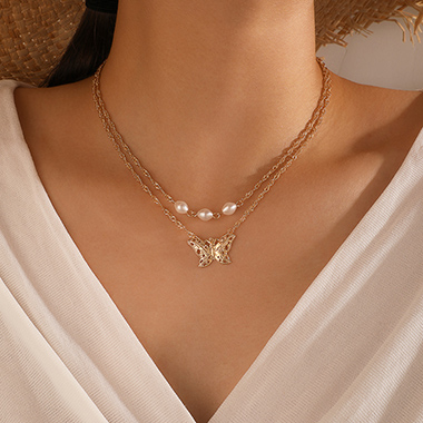 Layered Butterfly Pearl Detail Metal Necklace