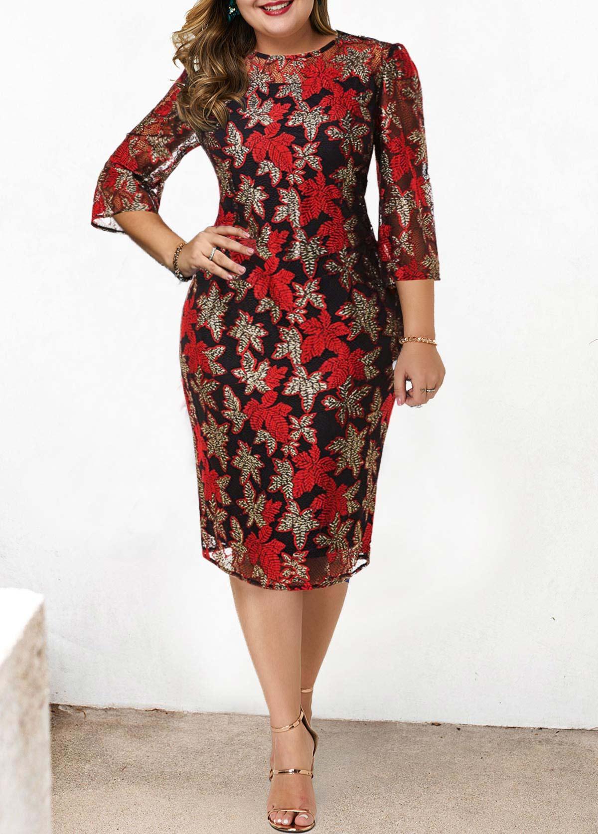 Plus Size Lace Stitching Round Neck Dress
