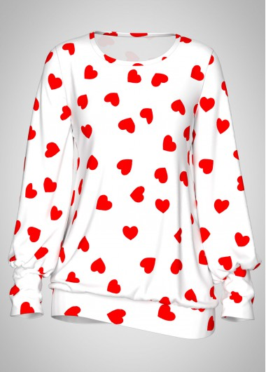 Valentines day Heart Print Blouson Sleeve White Cute Top - M