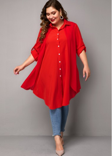 Red Button Up Half Sleeve Plus Size Blouse Tunic Top - 1X