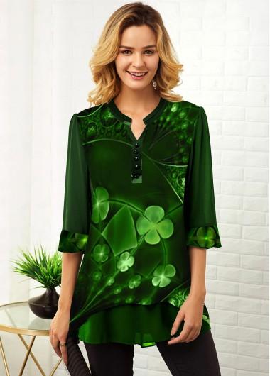 St. Patrick'S Day Mesh Clover Print 3/4 Sleeve Blouse - L