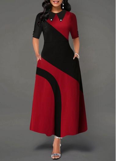 Contrast Turndown Collar Side Pocket Maxi Dress - L
