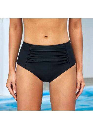 Ruched Black Mid Waist Swimwear Panty - L