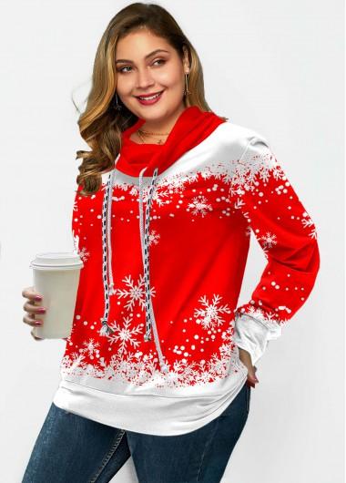 Plus Size Snowflake Print Drawstring Sweatshirt - 1X