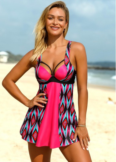 Bright Pink Geometric Print Spaghetti Strap Swimdress And Shorts - L