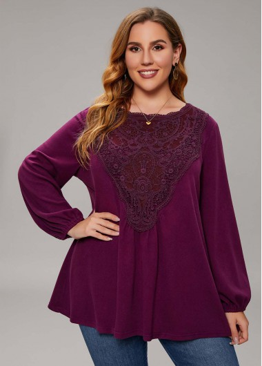 Plus Size Lace Stitching Long Sleeve T Shirt - 1X
