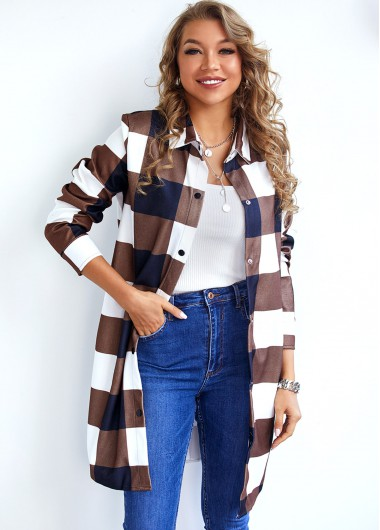 Plaid Button Up Turndown Collar Jacket - S
