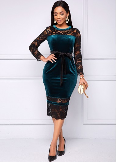 Lace and Velvet Stitching Long Sleeve Belted Dress - L