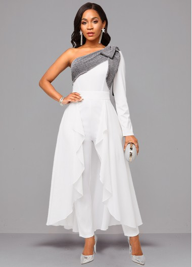One Sleeve Tie Side White Jumpsuit - L