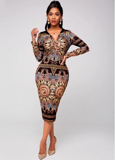 Tribal Print V Neck Long Sleeve Dress - L