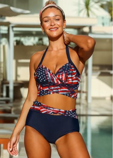 American Flag Print Tie Back Bikini Set - L