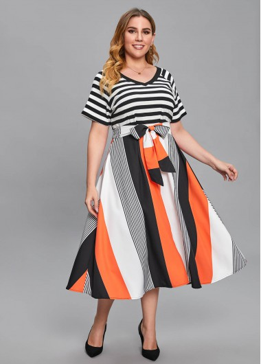 Plus Size Striped V Neck Bowknot Belted Dress - 1X