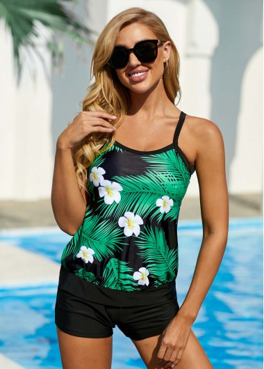 Spaghetti Strap Tropical and Floral Print Swimwear Top - L
