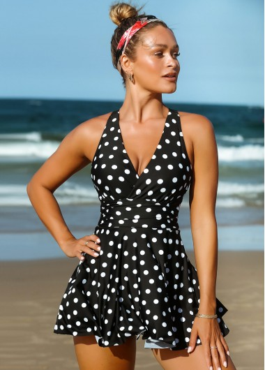 Polka Dot Criss Cross Back Swimdress and Shorts - L